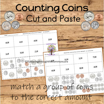 Counting Coins Cut and Paste MONEY Worksheets