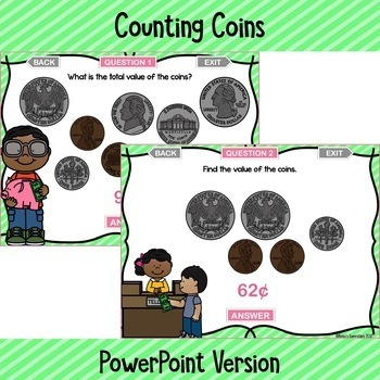 Counting Coins Digital Game ~ PowerPoint and Version for Google Slides™