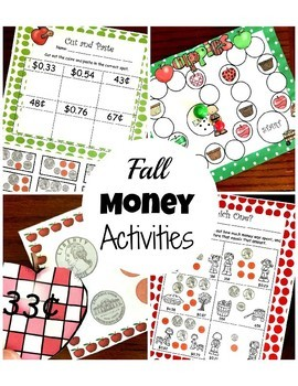 Counting Coins Fall Money Game, Sort, and Worksheets