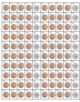 Counting Coins Hundred Grid