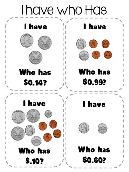 Counting Coins - I Have, Who Has