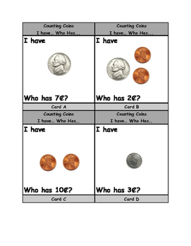 Counting Coins: I have...Who has... up to 10 cents