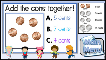 Counting Coins Jeopardy Style Game Show