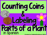 Counting Coins & Labeling Parts of a Plant in  Spanish!