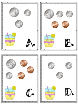 Counting Coins Lemonade Stand-Money Math Center