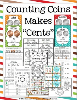 "Counting Coins Make ""Cents"" Math Pack (Games, Centers, Wor"