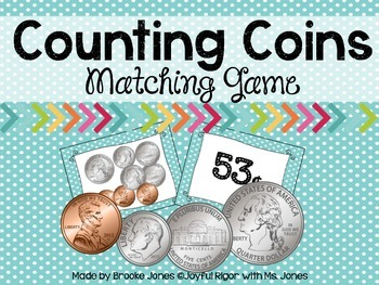 Counting Coins Match Game - Common Core Aligned