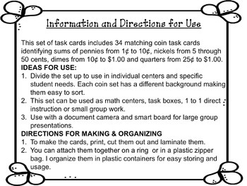 Counting Coins: Matching Money Task Cards