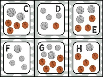 Super Bowl Counting Coins Math Center
