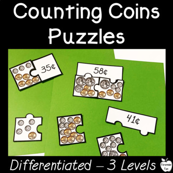 Counting Coins ~ Money Puzzle Center ~ Differentiated Levels ~ 1st/2nd Grade