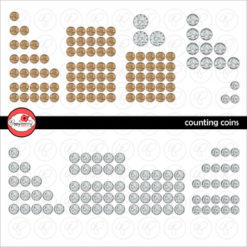 Counting Coins - Money Clipart Set by Poppydreamz WITH LINE ART