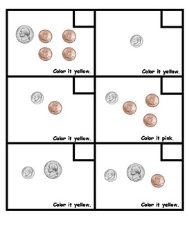 Counting Coins/ Number Grid Picture of a Bunny