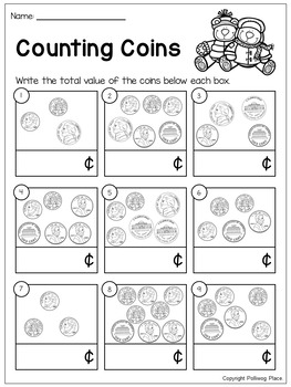 Counting Coins - Pennies, Nickels, Dimes - Winter
