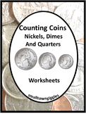 Coin Counting Cut Paste Life Skills Special Education Quarters Dimes Nickels