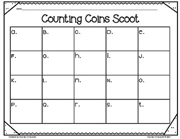 Counting Coins SCOOT (Pennies, Nickels, Dimes, Quarters)