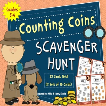 Counting Coins Scavenger Hunt {Pennies, Nickels, Dimes & Q