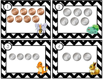 Counting Coins Scoot - Pokemon Inspired