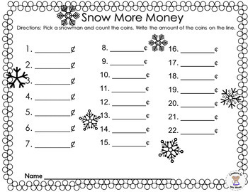 Math- Money -Counting Coins- Snow More Money