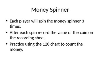 Counting Coins Spinner Game