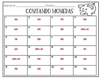 Counting Coins Task Cards (English/Spanish)
