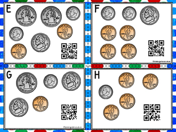 Counting Coins Task Cards (QR Code Optional)