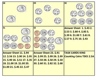 Counting Coins Task Cards (TEK 2.5A) (32 Cards)