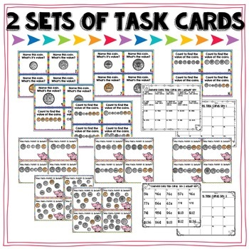 Counting Coins Task Cards and More