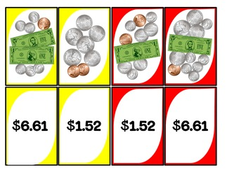 Counting Money Card Game Dollars & Coins