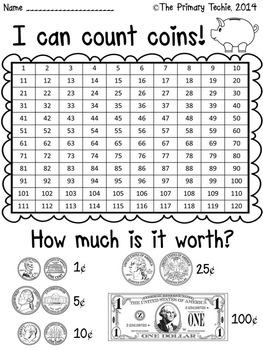 Counting Coins - Watch, Think, Color Mystery Pictures