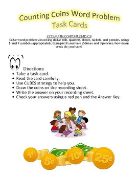 Counting Coins Word Problem Task Cards