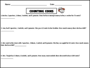 Counting Coins Word Problems