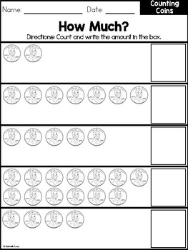 Counting Coins Workbook