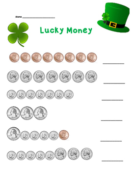Counting Coins Worksheet - St. Patricks Day