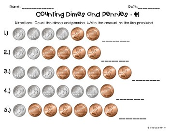 Counting Coins Worksheets - Dimes and Pennies