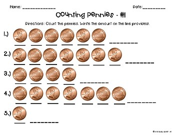 Counting Coins Worksheets: Pennies Only