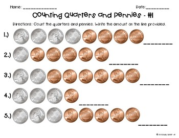 Counting Coins Worksheets - Quarters and Pennies