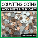 Counting Coins Worksheets and Task Card Bundle