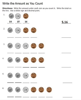 Counting Coins - Write the Amount as You Count