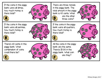 Counting Coins and Money Task Cards - What's in the Piggy Bank?