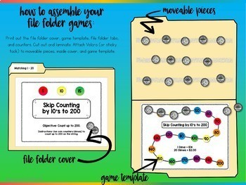 Counting Coins and Numbers File Folder Games