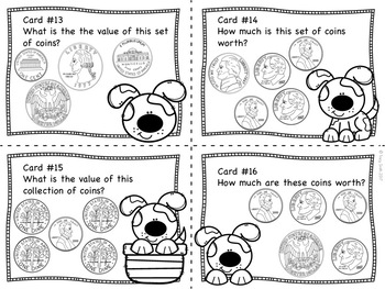 Counting Coins to $1.00 Task Cards - Puppy Money - 2.MD.C.8