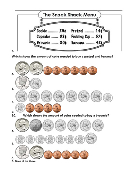 Counting Coins to a Dollar Test (TEKS 2.5AB) 10 Questions