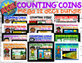 Counting Coins up to $1   Mega Bundle of 12 DECKS (BOOM CARDS)