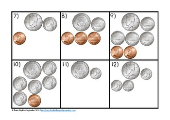 Counting Coins with Half Dollars Task Cards