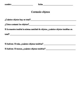 Counting Collections Tiered Recording Sheets in Spanish (PDF)