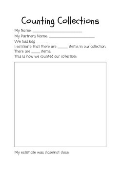 Counting Collections Worksheet