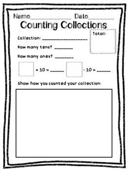 Counting Collections and Combining Collections Recording Sheets