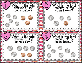 Counting Collections of Coins - Valentine Themed Task Cards (U.S. Coins)