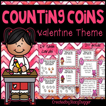 Counting Collections of Coins Valentine Themed Task Cards (U.S. Coins)
