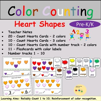 Counting Color Heart Shapes Task Cards, Flashcards, Number Track, Teacher Notes